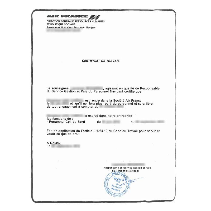 Certficat de travail FR