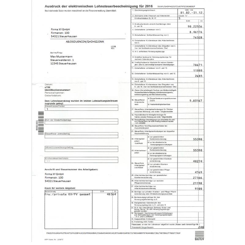 Feuilles d'imposition DE Lohnsteuer