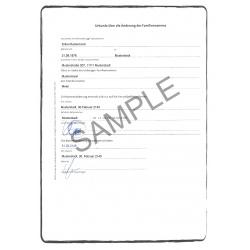 Certificat de changement de nom DE