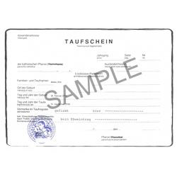 acte de baptême DE allemand Allemagne