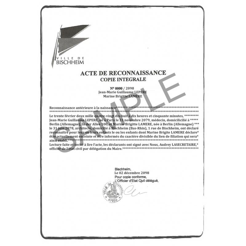 Traduction Certifiée D Acte De Reconnaissance Commandez En 3 Clics