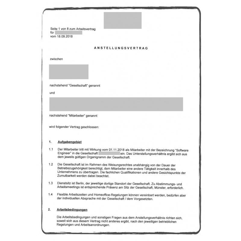 Contrat de travail DE